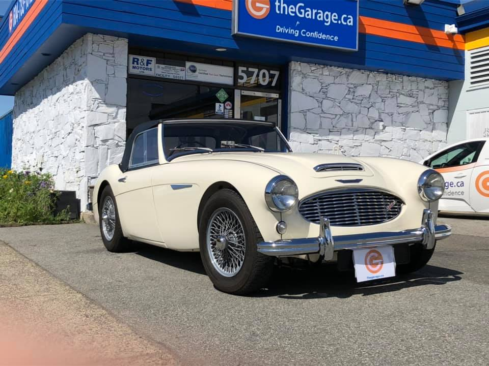 Austin Healey in for repairs at the Garage Burnaby